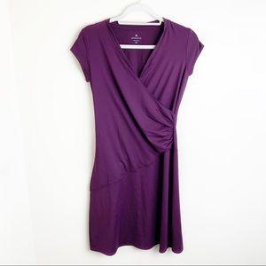 Athleta Purple V-Neck Wrap Dress